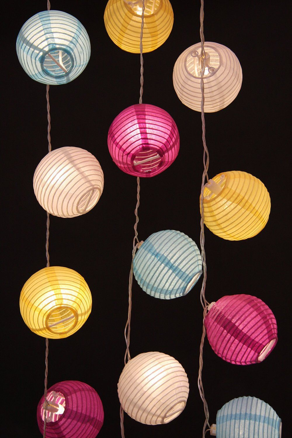 Multi Coloured Paper Lantern Led Battery Operated Party Light Chain Co Uk Lighting