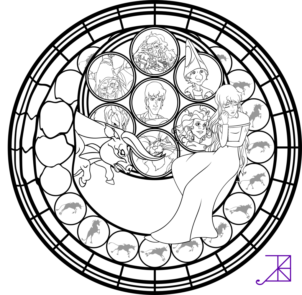 Amalthea Stained Glass Coloring Page By Akili Amethyst Deviantart Com On Deviantart Coloring Pages Mandala Coloring Pages Coloring Books