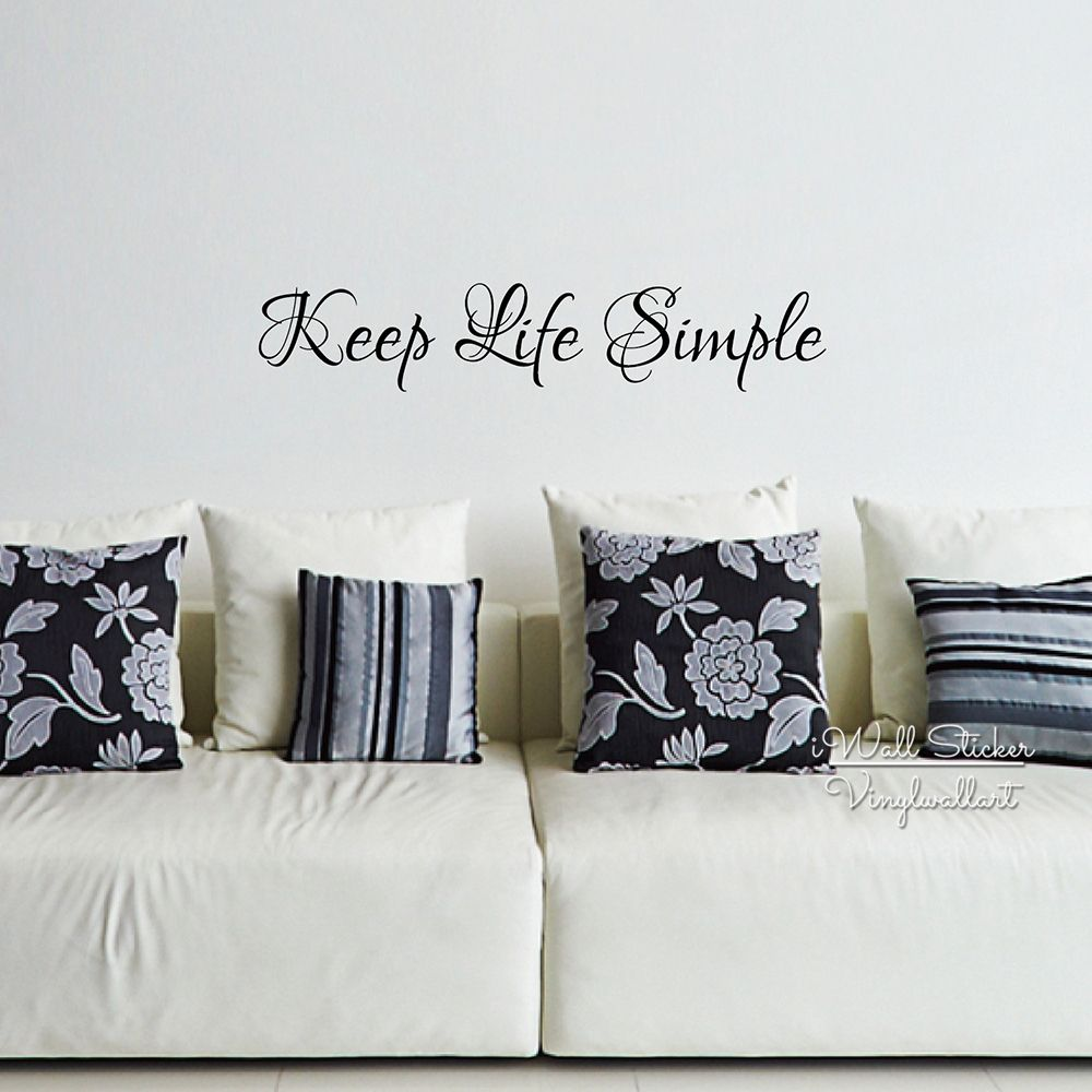 Keep Life Simple Quote Wall Sticker Inspirational Quote Wall Decal