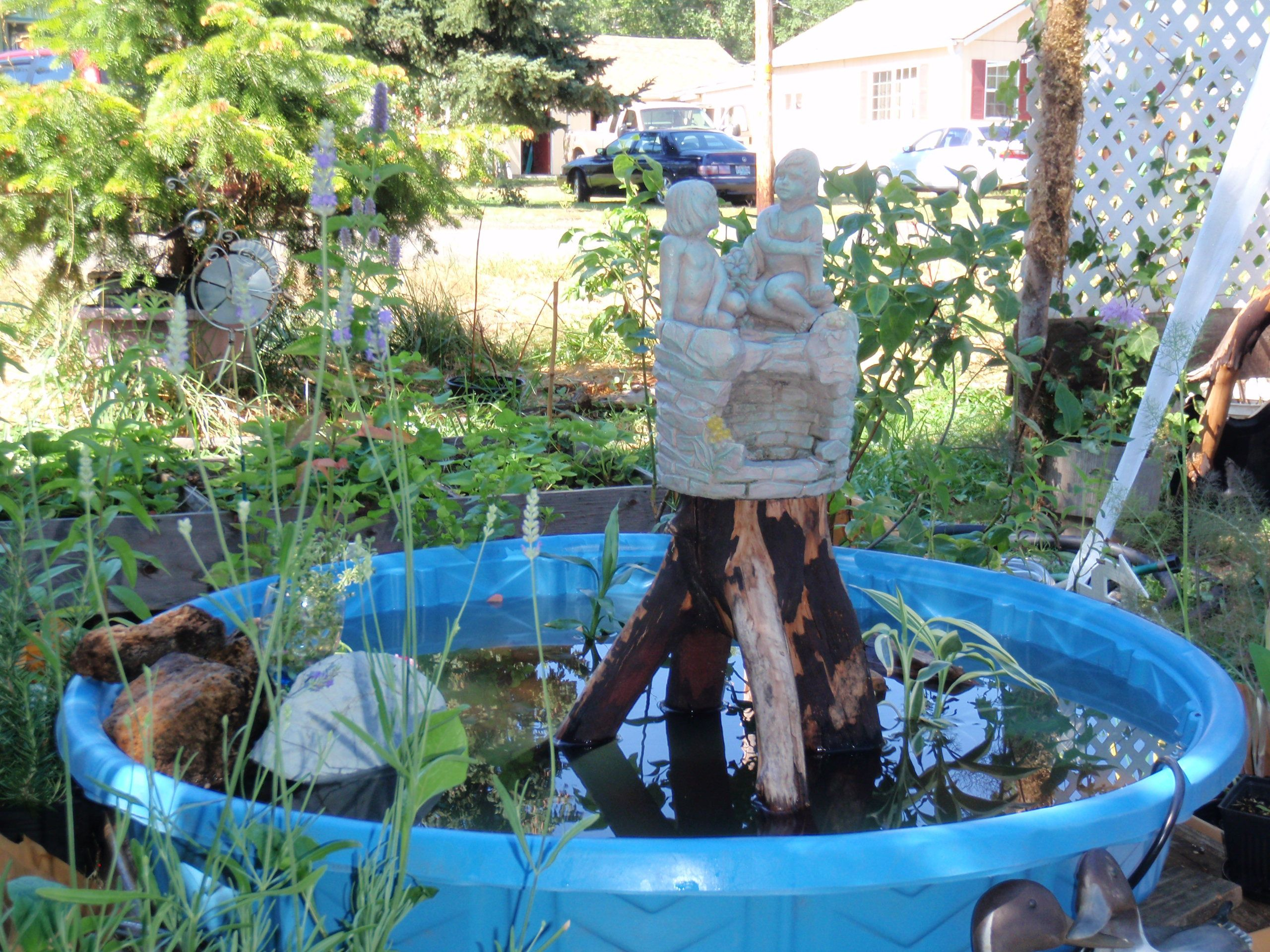 My little pond. I have since added a solar water fountain my son & D-I-L., bought for my pond.