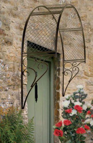 English Garden Trellis Black Metal Ornate Arch Plants