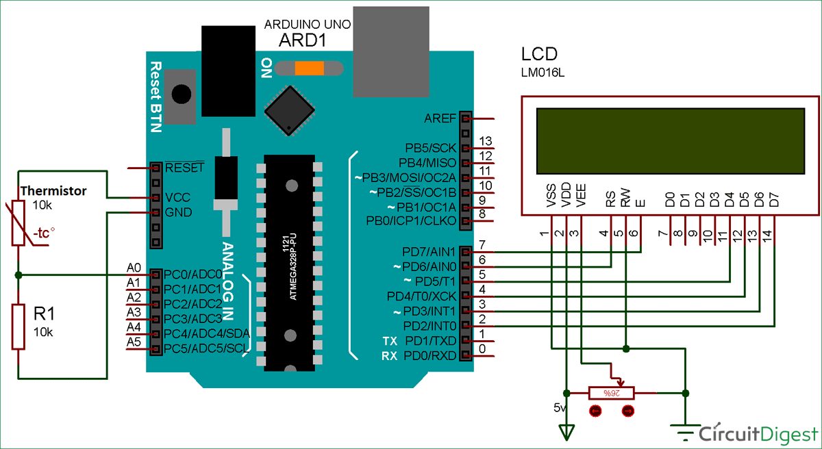 Using Thermistor With Arduino For Measuring Temperature Setup Electronic Projects Circuit Diagrams Electronics Gadgets Diagram