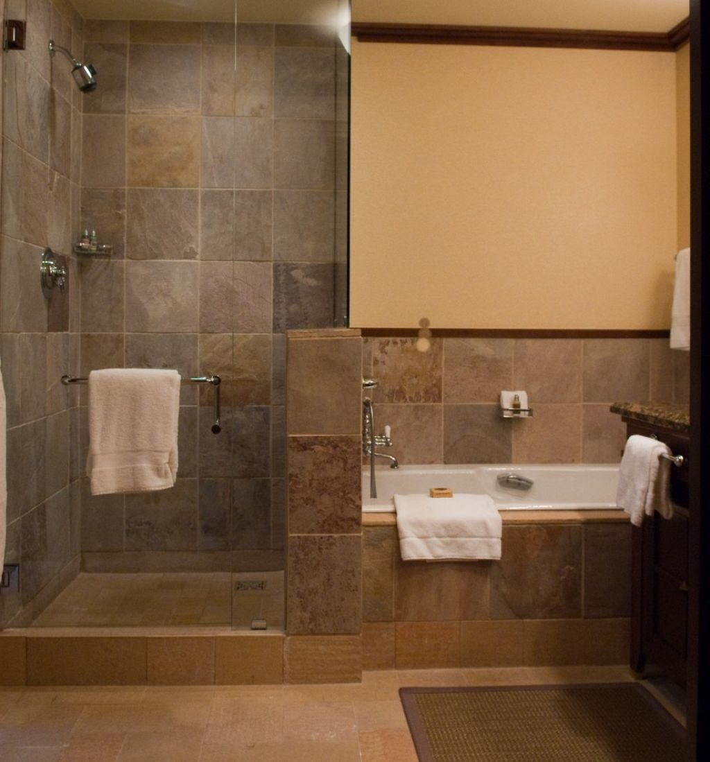 Bathroom tile shower design with bathtub small bathroom for Small bathroom natural