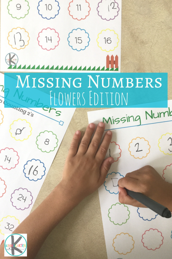FREE Flower Missing Numbers kindergarten worksheet - this free ...
