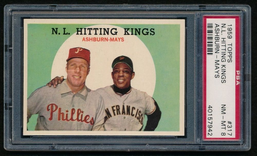 1959 Topps 317 NL Hitting Kings Willie Mays / Richie