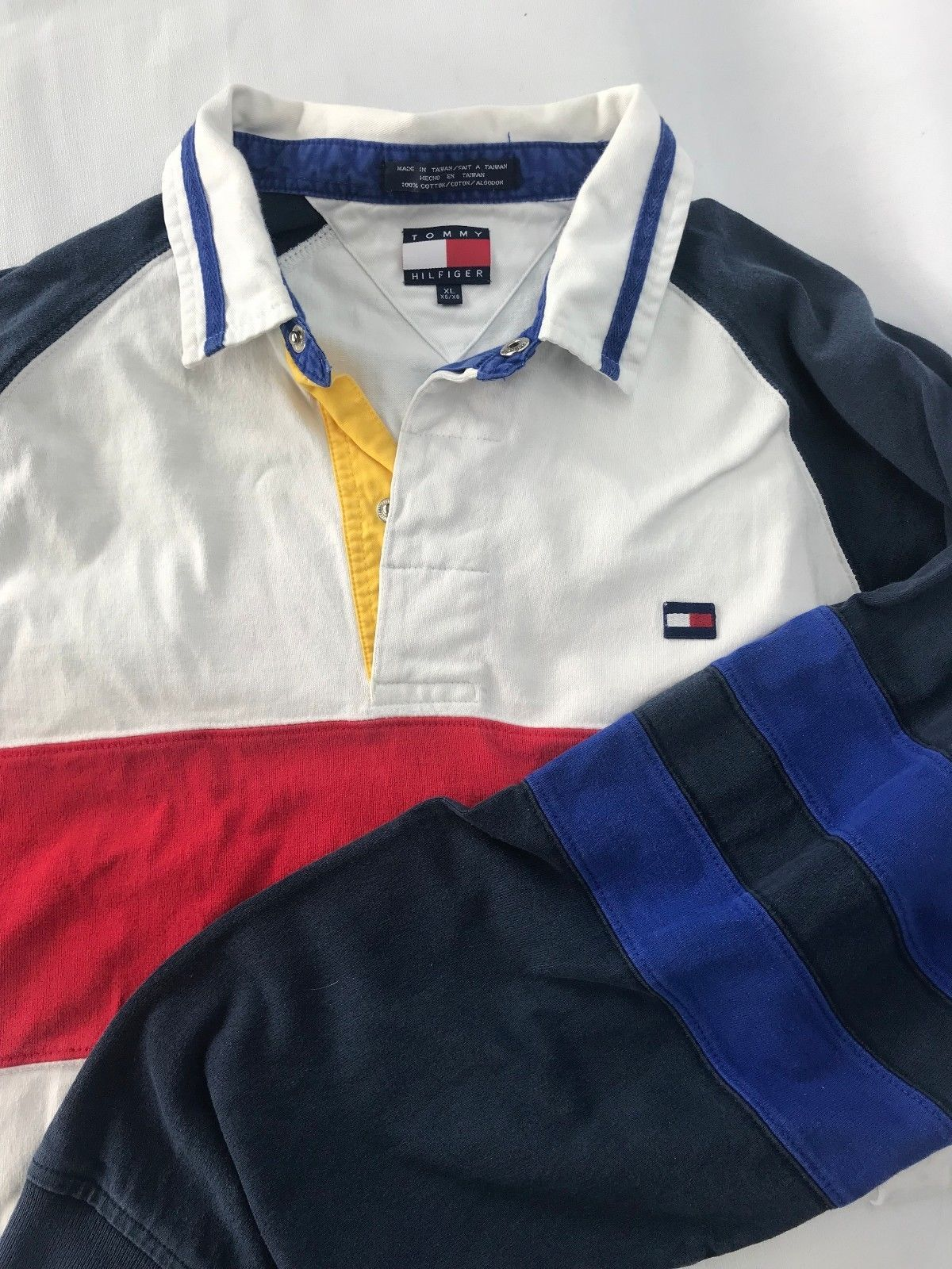 40422143 Tommy Hilfiger Mens XL Long Sleeve Polo Shirt Red White Blue Striped with  Logo | eBay