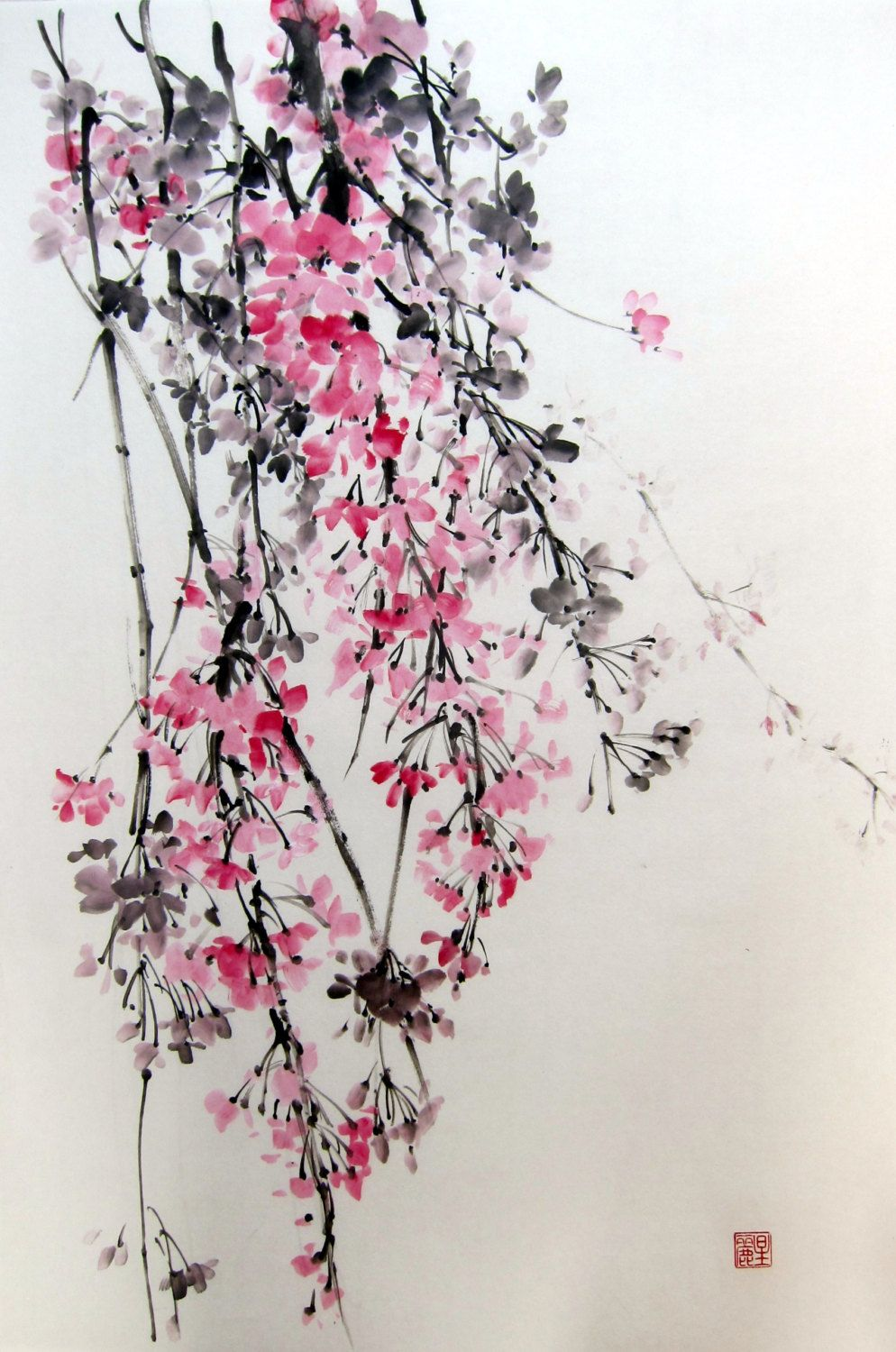 Japanese Ink Painting Suibokuga Sumi E Brush Painting Pink Flowers