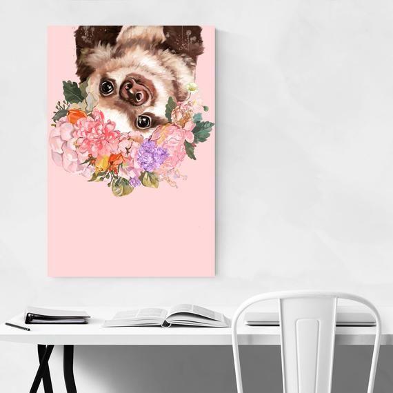 Baby Sloth Print, Nursery Decor Prints, Nursery Animal Print, Childrens Room Art, Peekaboo Animal, N #babysloth