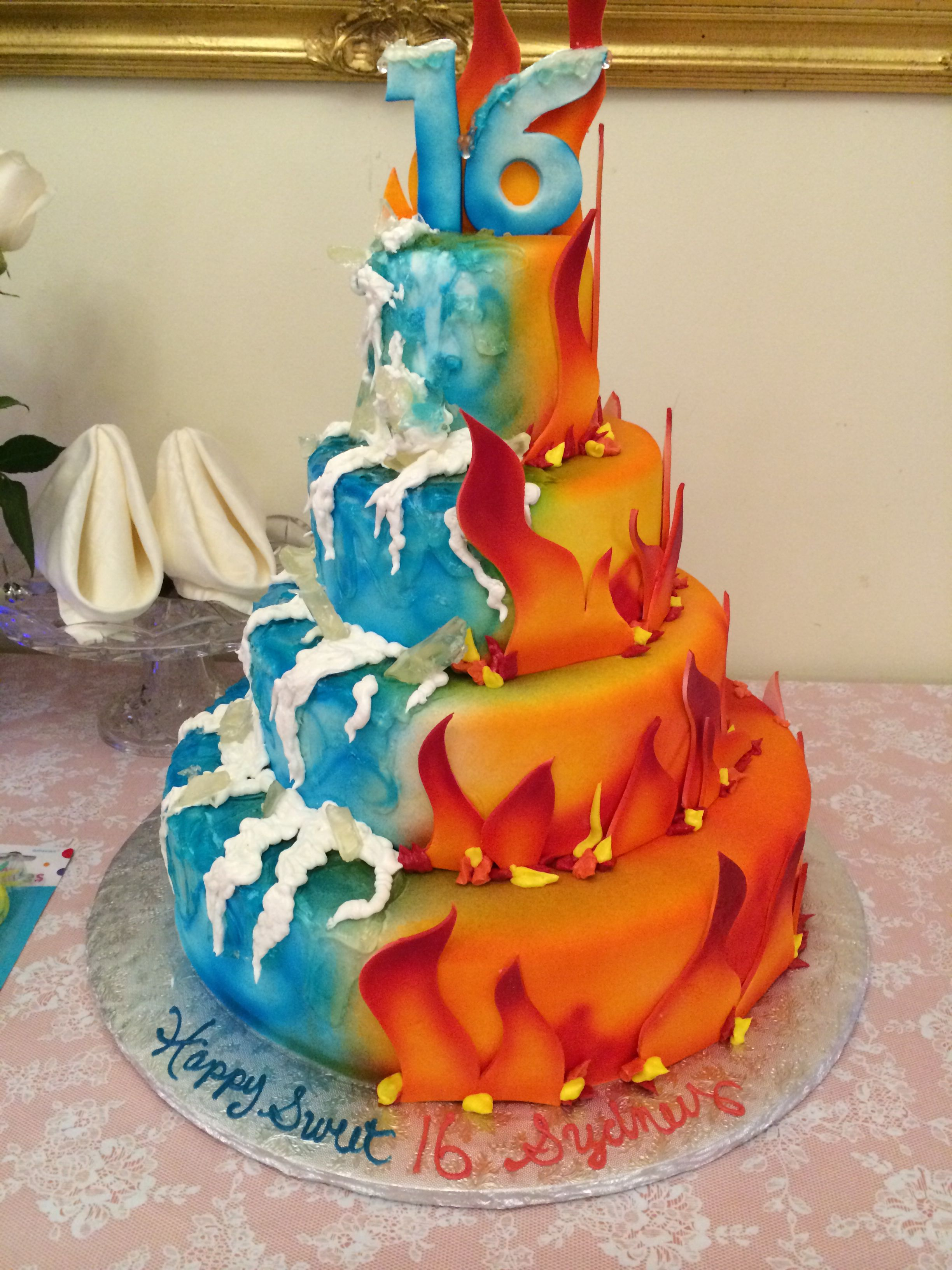 Fire And Ice Themed Cake A Two Layer With Little Figurines Of The Characters And A 2 On Top Would Be Precious For E S P A Quot Two Quot Perfect