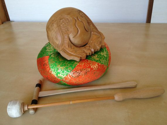 Japanese buddhist mokugyo wooden fish drum gong bell for Wooden fish instrument