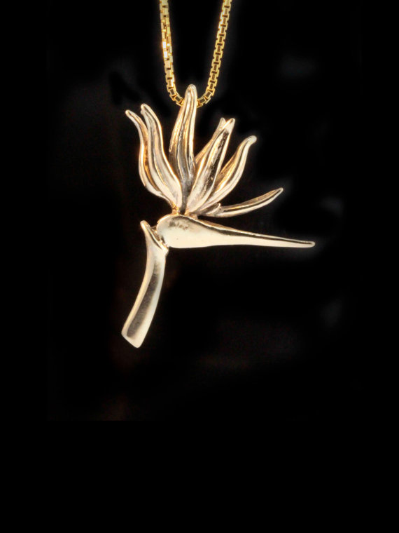 Flower Necklace Gold Bird Of Paradise Pendant 14k Gold Flower Jewelry Flower Charm Island Jewelry Pla Flower Necklace Gold Island Jewelry Online Gold Jewellery