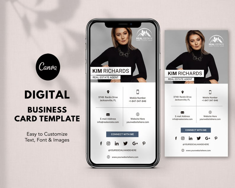 Digital Business Card Template Canva Real Estate Business Etsy In 2021 Digital Business Card Unique Business Cards Business Card App