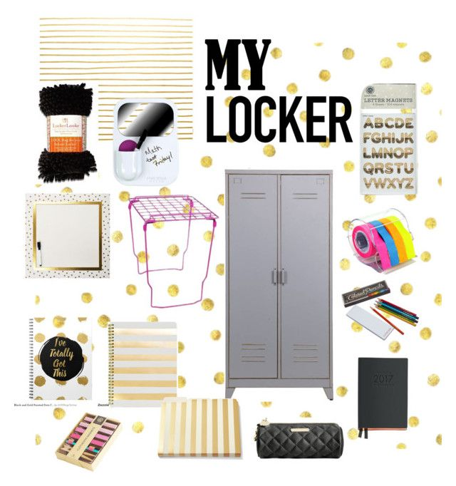 """""""Gold glam"""" by eliyanakubelis on Polyvore featuring interior, interiors, interior design, home, home decor, interior decorating, Dot & Bo, Mead, U Brands and Hester & Cook"""