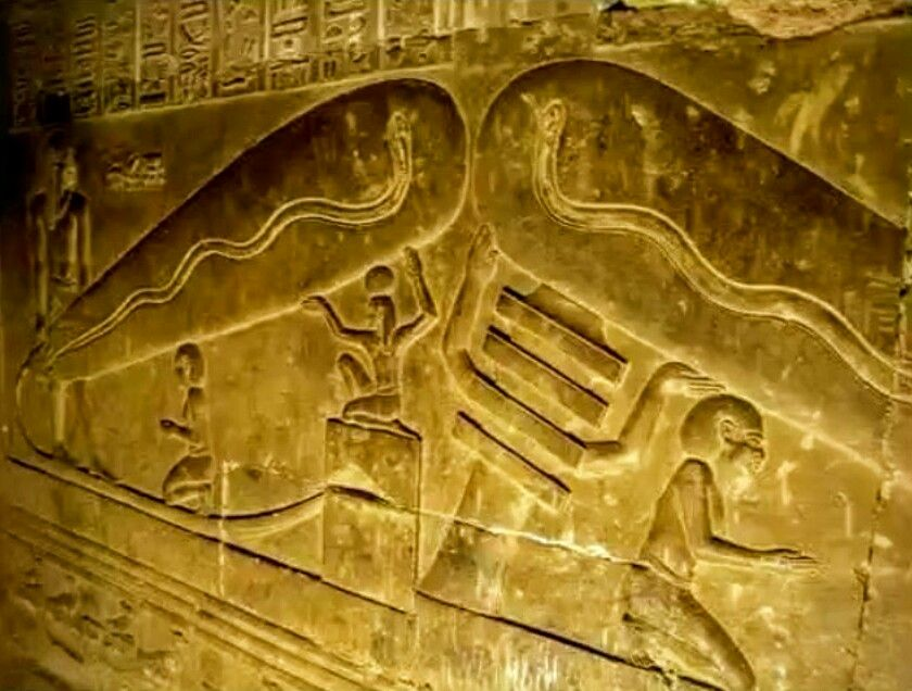 An Egyptian wall relief/hieroglyphic depicting what appears to be ...
