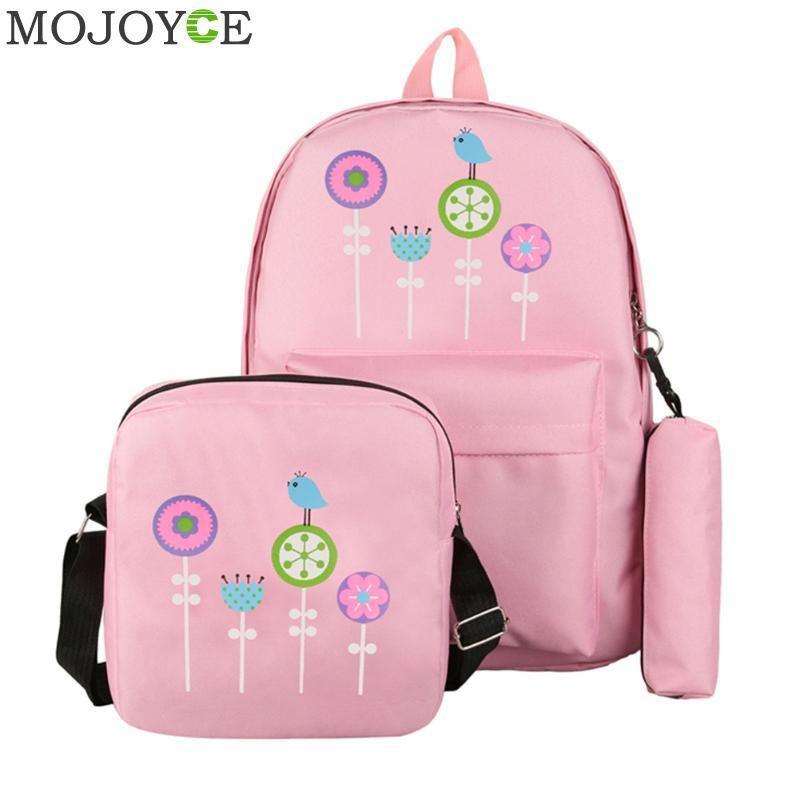b02a8adda59f 3pcs/Set Print Floral Backpack Women Canvas Backpack Fashion Brand ...