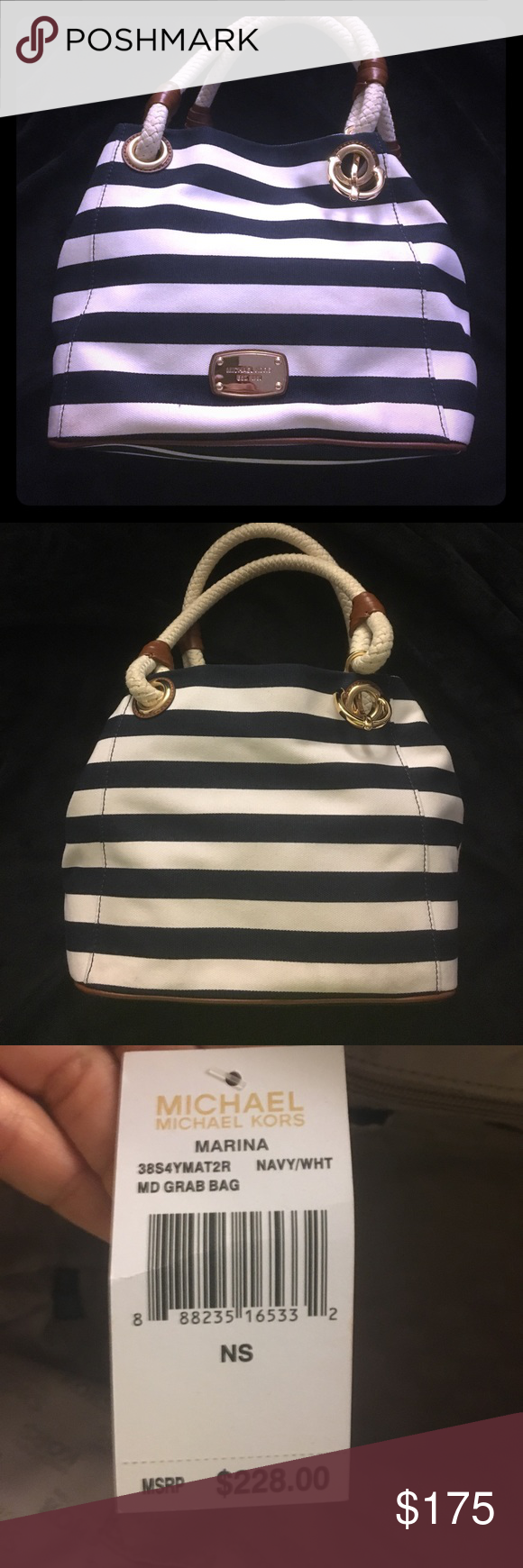 NWT Michael Kors Marina tote NWT Michael Kors Marina tote, navy blue and white canvas stripes with tan leather and gold anchor details, and rope handles.  Inside has 1 large zippered pocket and 4 inside pockets Michael Kors Bags Totes