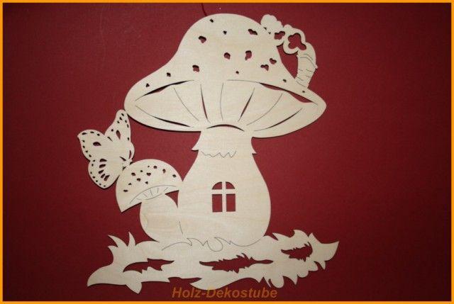 Basteln Behang Dekoration Pilzhaus natur Herbst 6 cm
