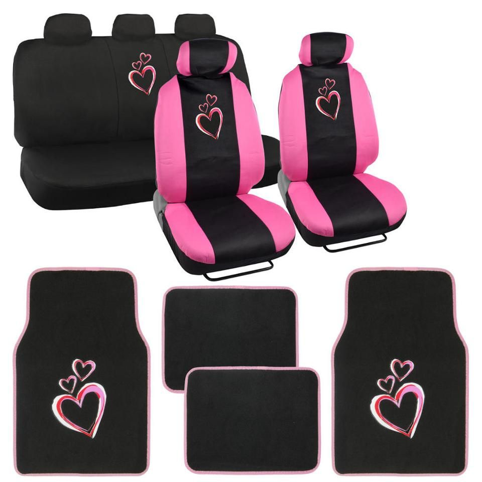 Love Hearts Car Seat Covers Carpet Floor Mats 13pc Interior Set