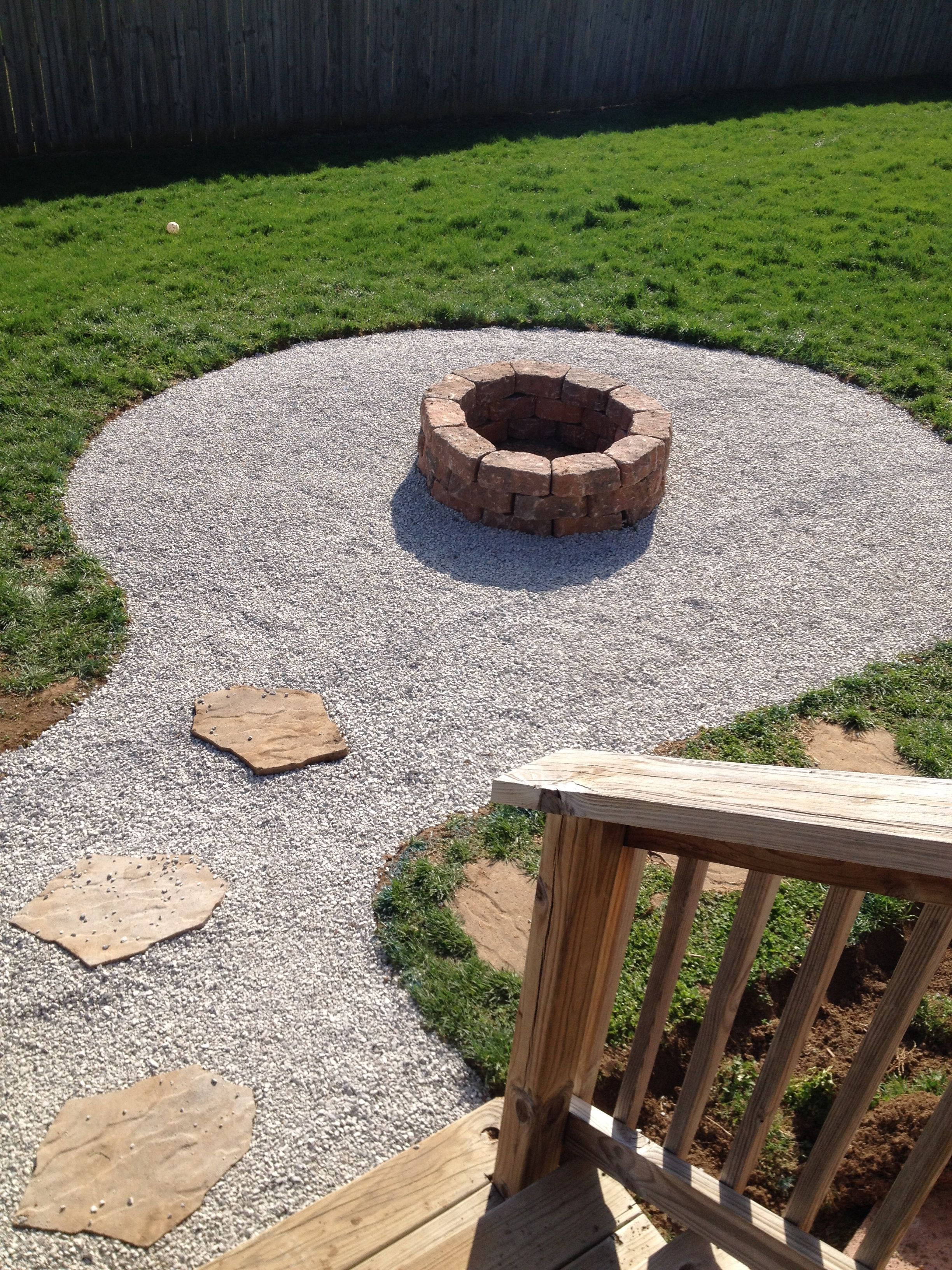 My Backyard Firepit With Seating Area Stones From Lowes 2 25 A Piece Need 30 And 2 Bags Of Pea Gravel Fire Pit Landscaping Backyard Fire Outside Fire Pits