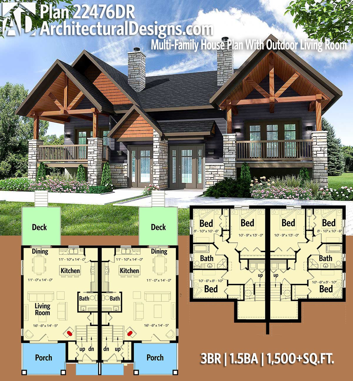 Plan 22476dr Multi Family House Plan With Outdoor Living Room Family House Plans Craftsman House Plans House Blueprints