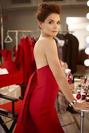 Katie Holmes for Olay 2015 beauty campaign, wearing a Rosie Assoulin Draped  Back Silk-
