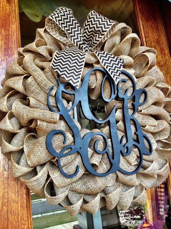 Burlap Wreath - Etsy Wreath - Spring Summer Wreaths for door - Door wreath - Monogram Wreath - Initial Wreath on Etsy, $95.00