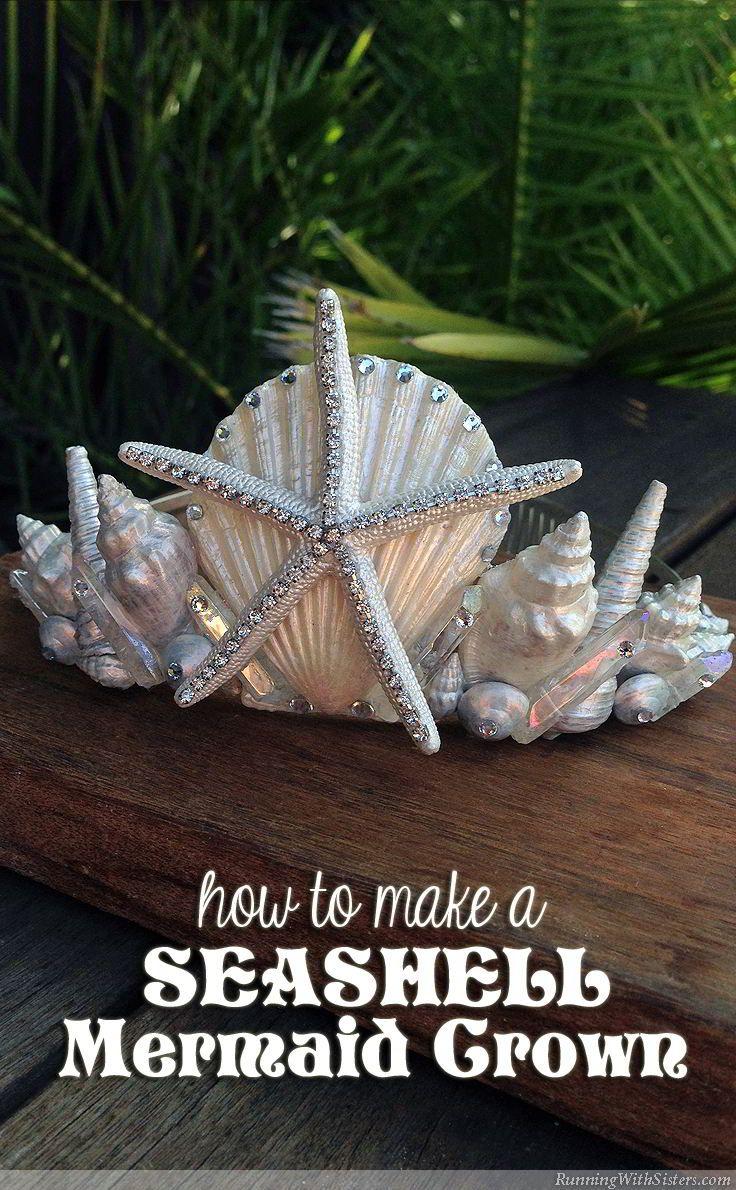 5157e61bf4d59 DIY Seashell Mermaid Crown - learn how to make a beachy headpiece out of an  inexpensive tiara