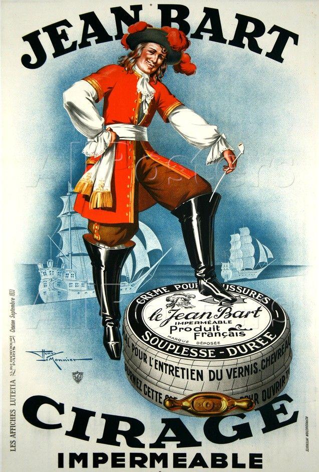 Irrésistible publicité de l'entre-deux-guerres utilisant Jean Bart pour vendre du cirage.