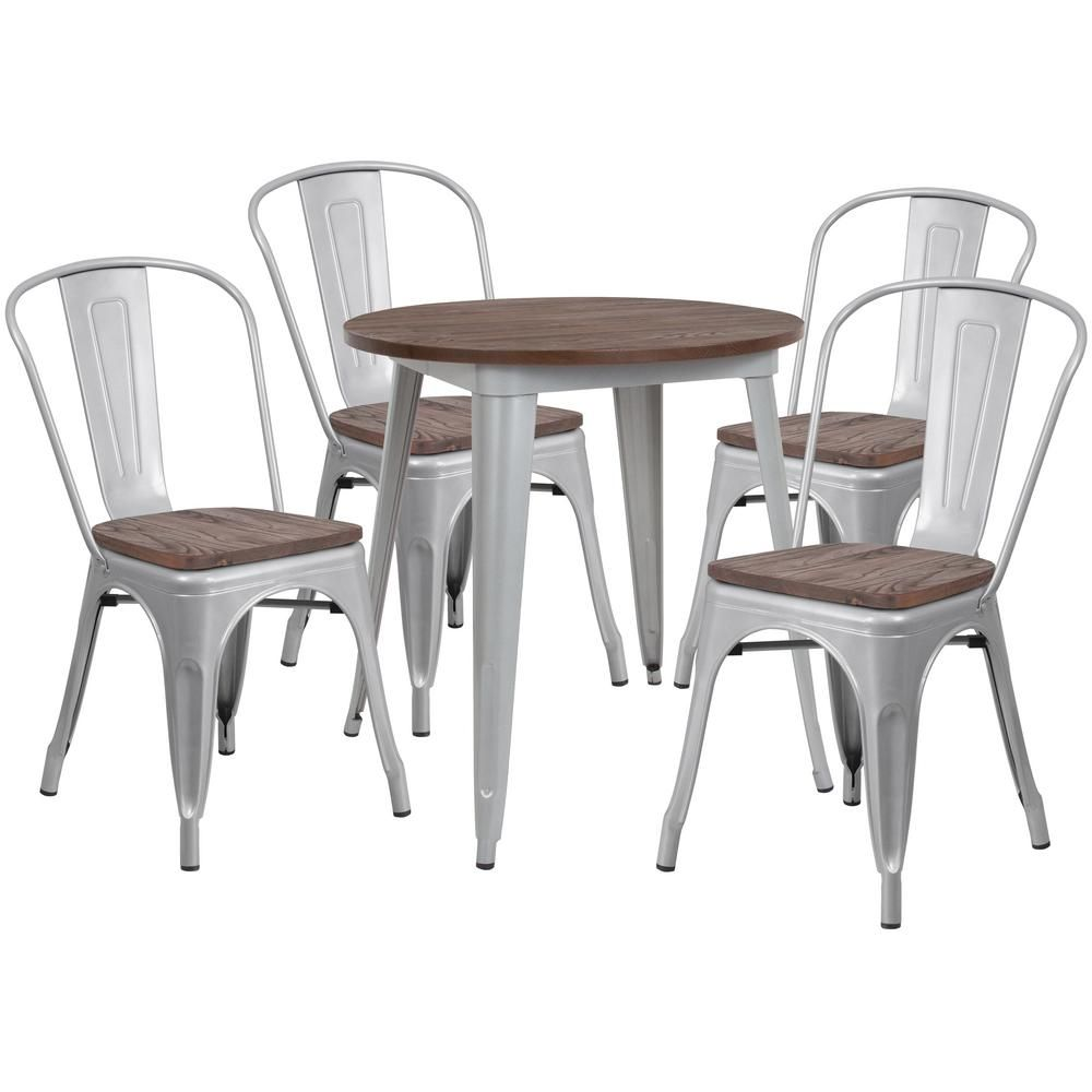 Carnegy Avenue 5 Piece Silver Table And Chair Set Solid Wood