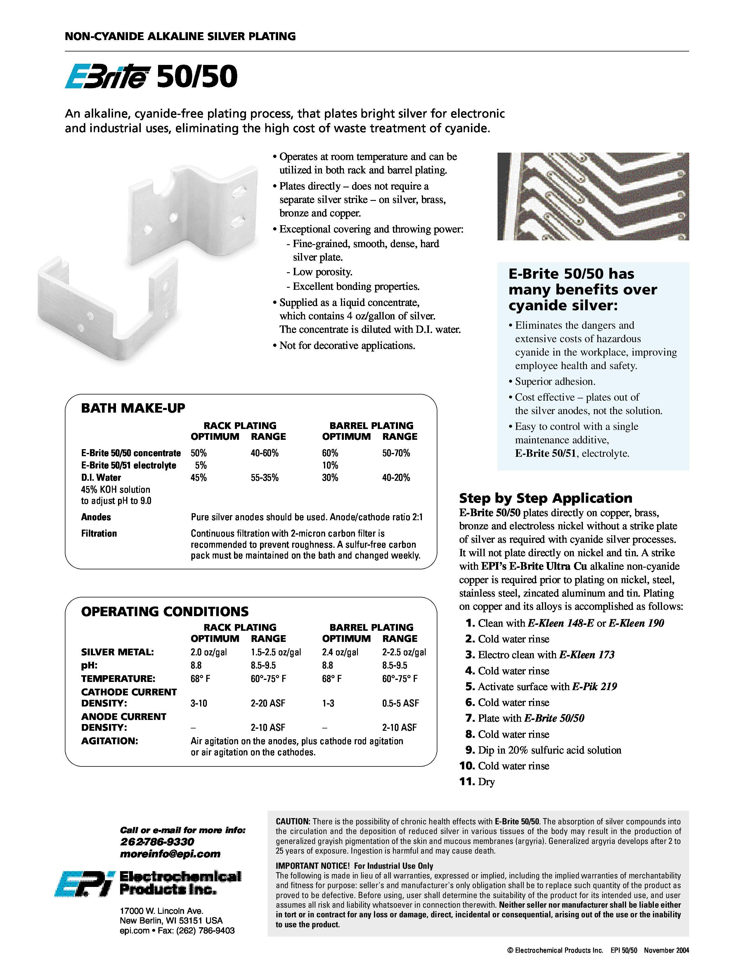 E-Brite 50/50 | Non-Cyanide Alkaline Silver Plating | Silver