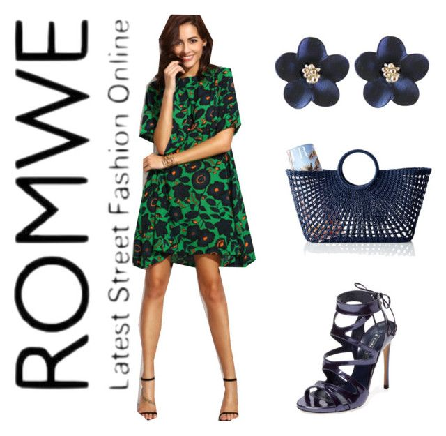 """Green dress & navy details"" by subvilli ❤ liked on Polyvore featuring Casadei and Mark & Graham"