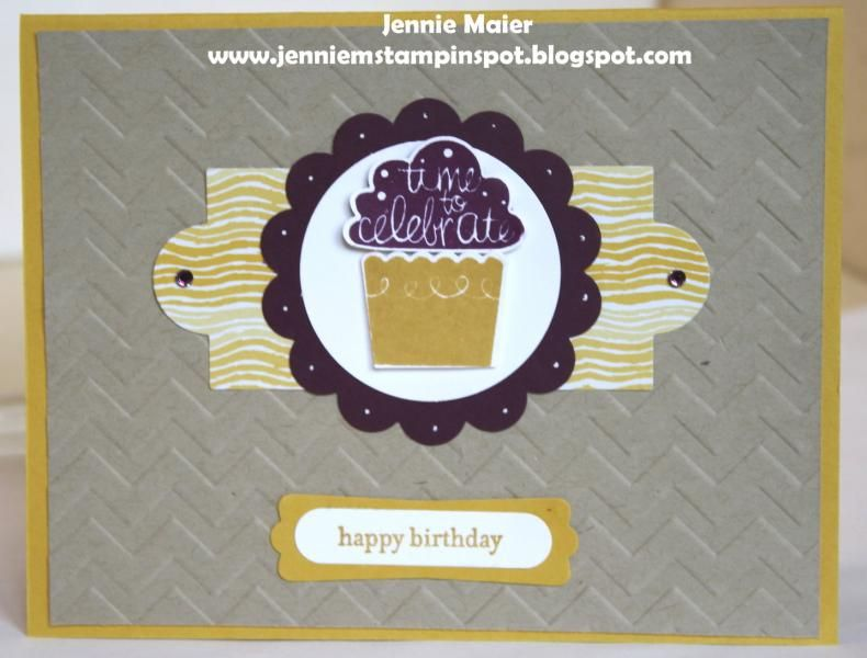 """Cupcake party ; Teeny tiny wishes ; Cupcake builder punch ; 1 3/4"""" Circle punch ; 2 3/8"""" Scallop circle punch ; Word window punch ; Modern label punch ; Apothecary accents framelits ; Birthday"""