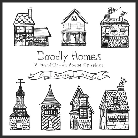 Hand Drawn Buildings Clipart, Cute Homes Clipart, Hand