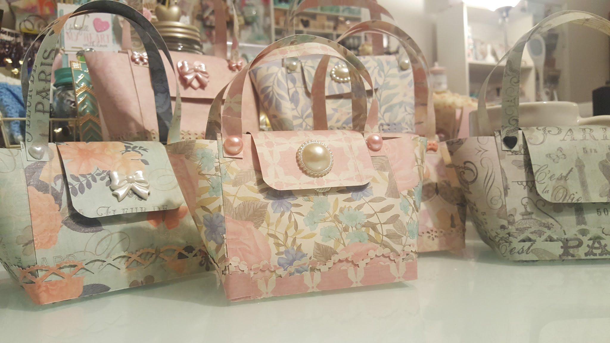Pretty paper handbags using 12x12 paper