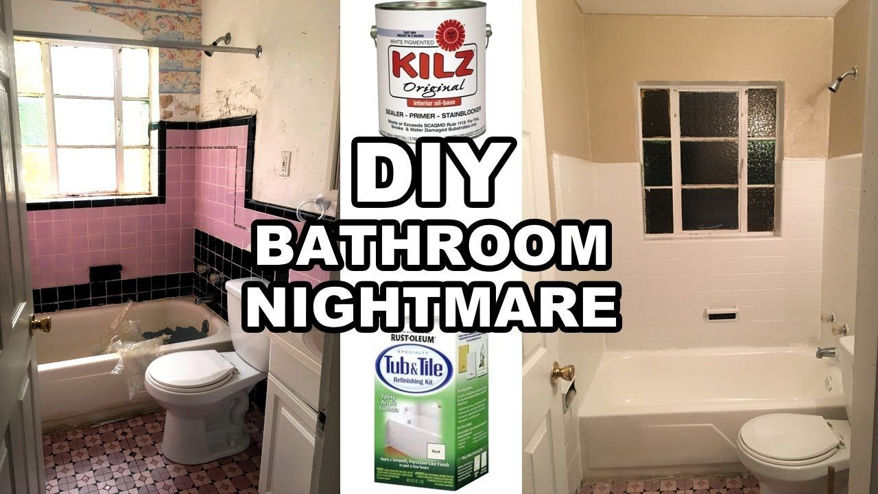 Bathroom Nightmare Painting Tub And Tiles With Rustoleum Refinish Kit And Killz Primer Youtube Refinishing Kit Tub And Tile Paint Bathroom Tile Diy