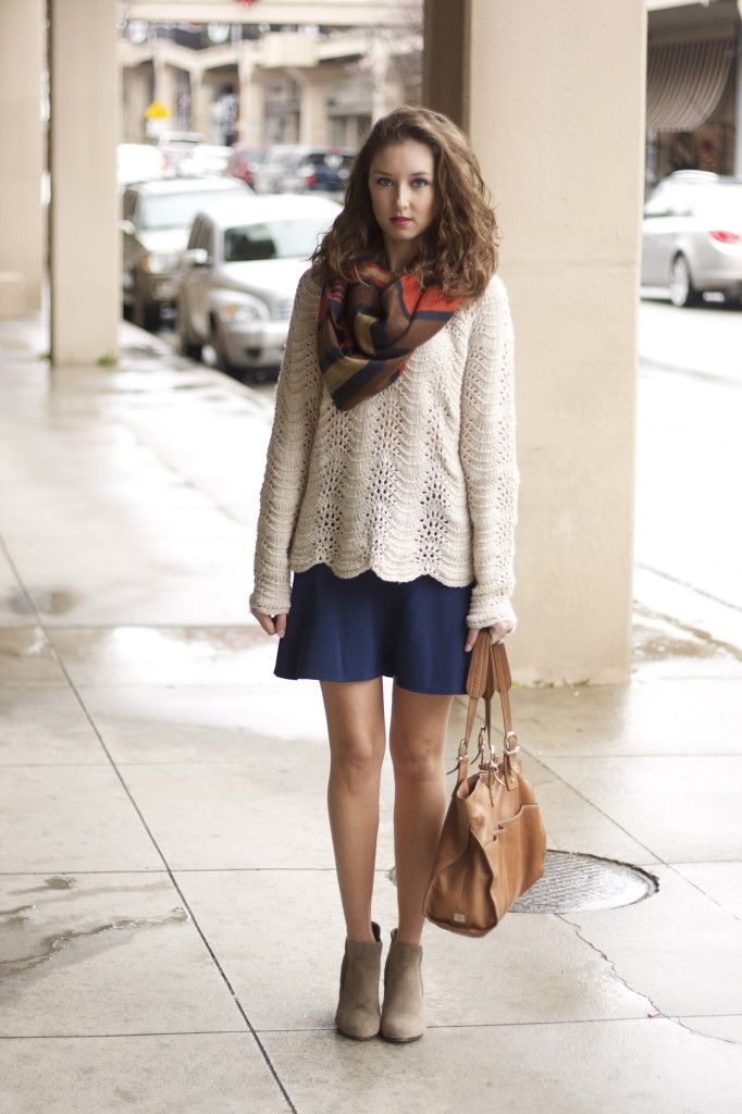9019579beb winter or fall style- scalloped sweater, dropped waist skirt, taupe  booties, oversized scarf, tote