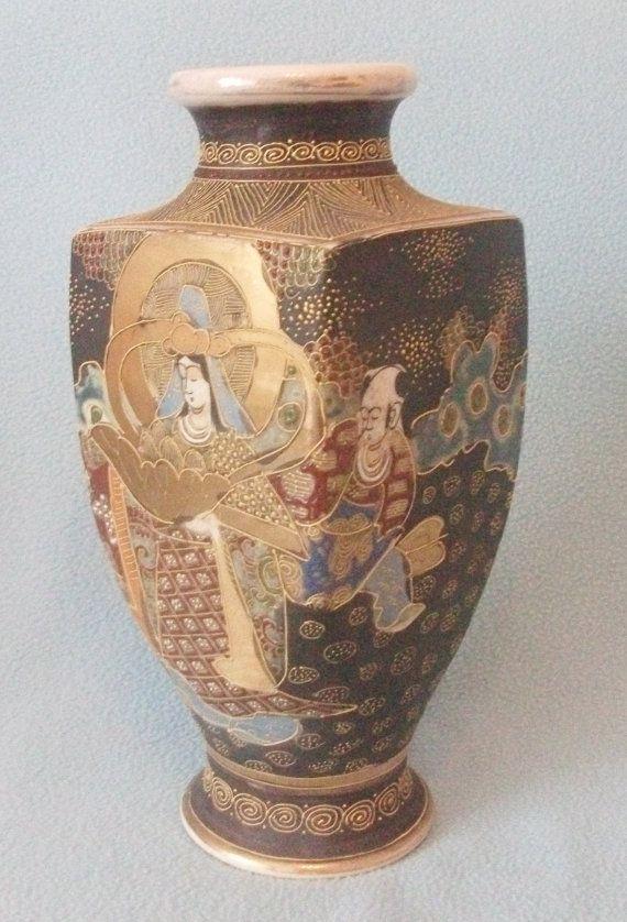 Large Antique Japanese Satsuma Vase Unusual By Atoasttothepast
