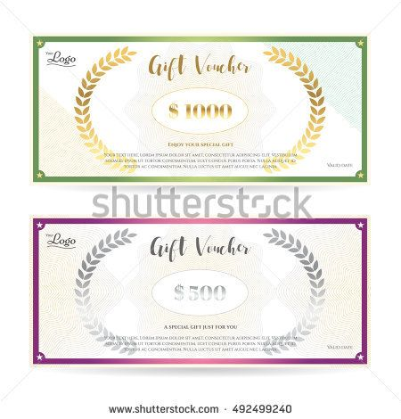 Elegant gift voucher or gift card template with guilloche pattern - cute gift certificate template
