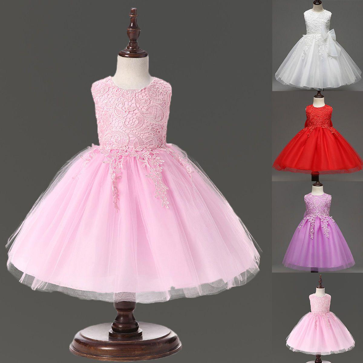 Tutu baby dresses formal girl kid flower bridesmaid party wedding princess dress