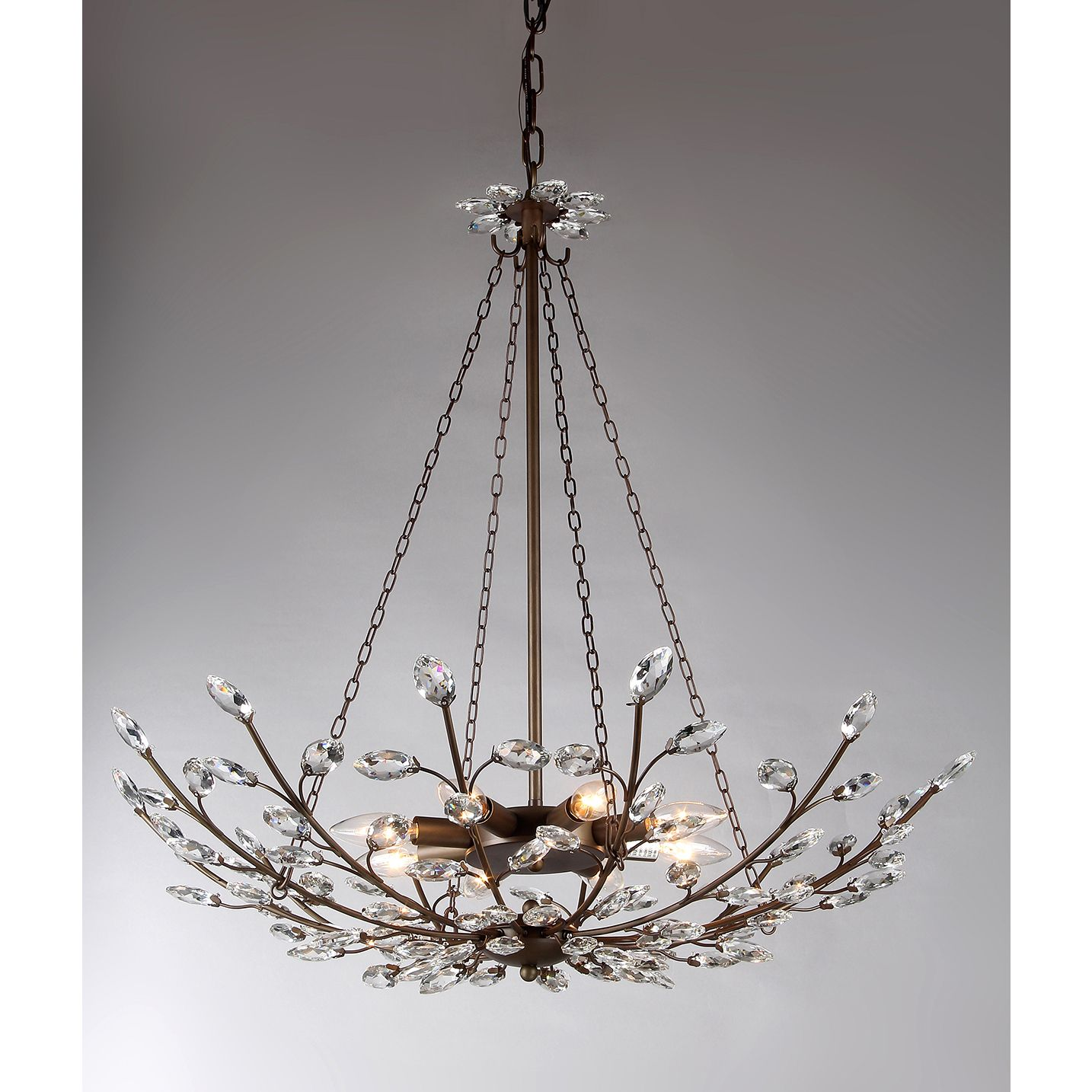 This chandelier features a stunningly beautiful design