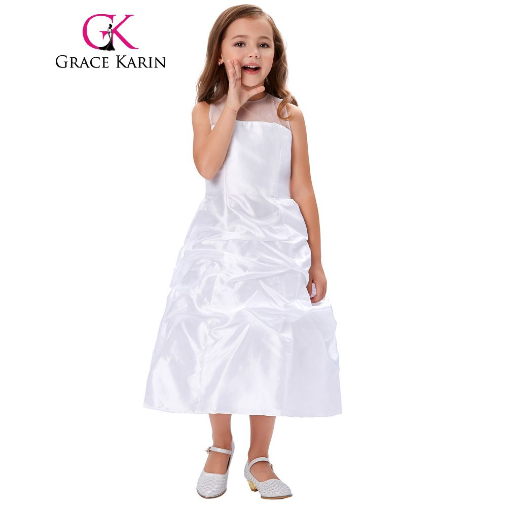 Click to buy ucuc grace karin long white first communion dress for