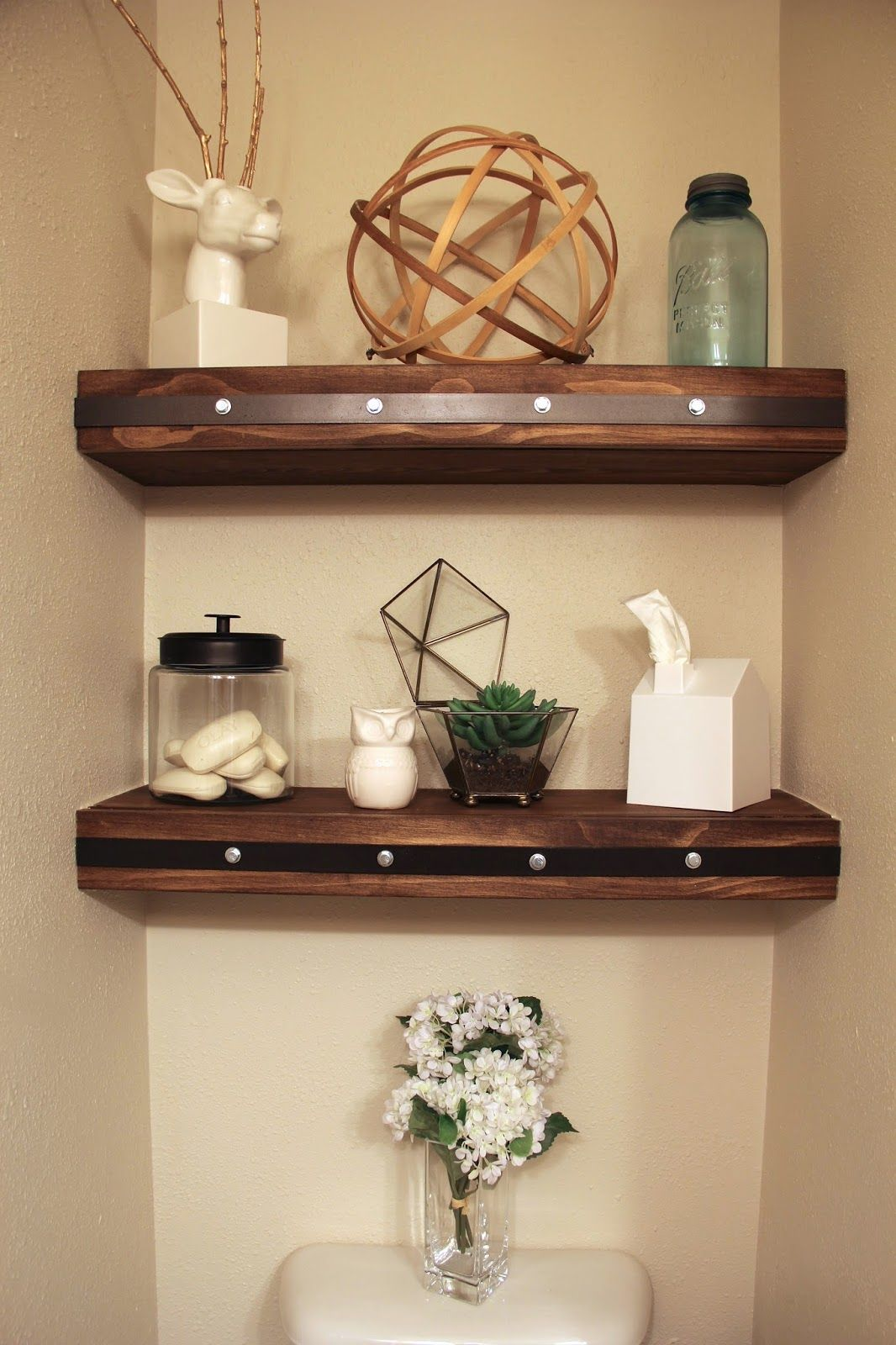 Diy Floating Shelves With Faux Rivets Metal Floating Shelves Bathroom Shelf Decor Floating Shelves