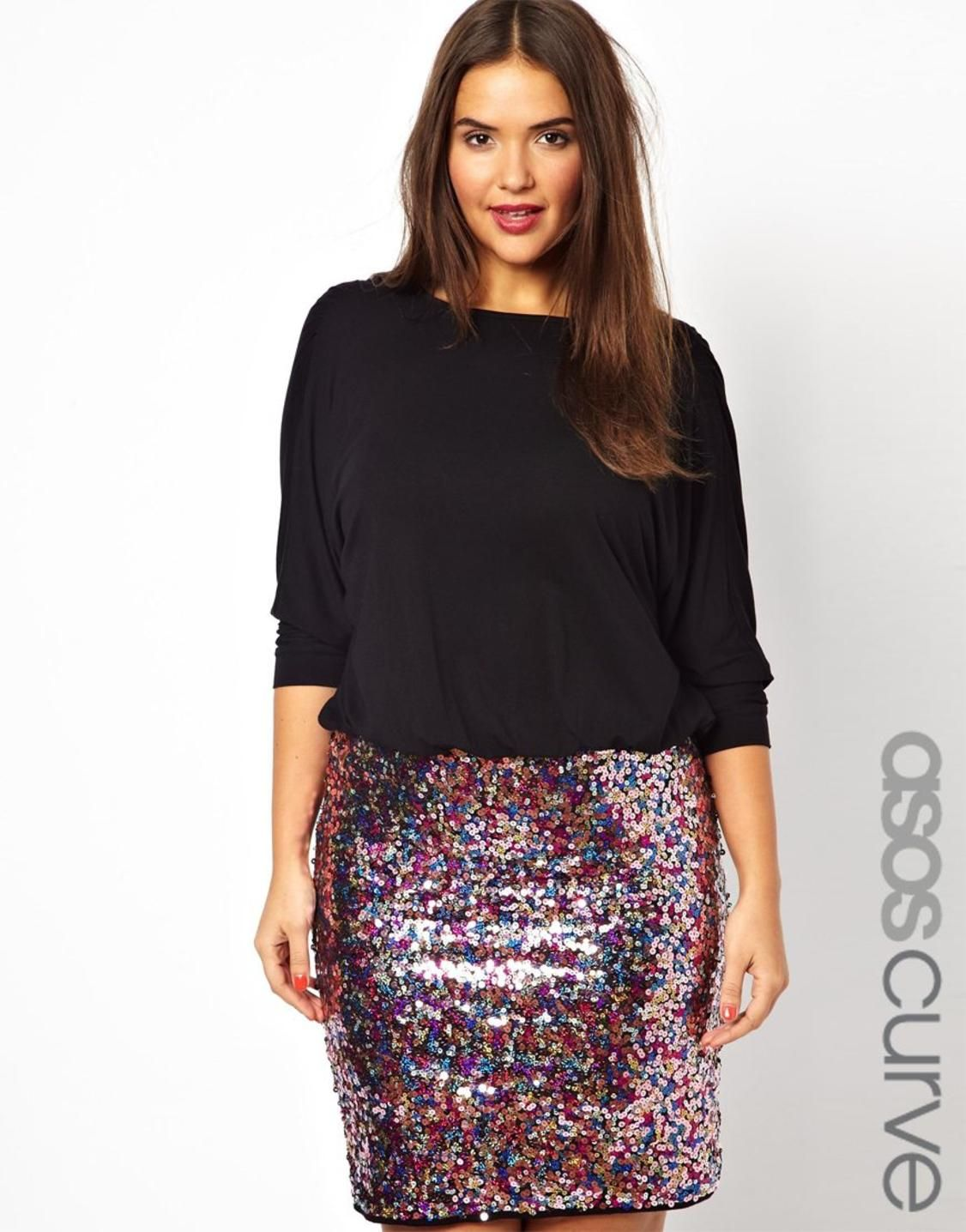 asos curve exclusive dress with blouson top and sequin skirt http