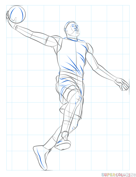 How To Draw A Basketball Player Dunking Step By Step Drawing Tutorials Drawing Tutorial Basketball Players Basketball Drawings