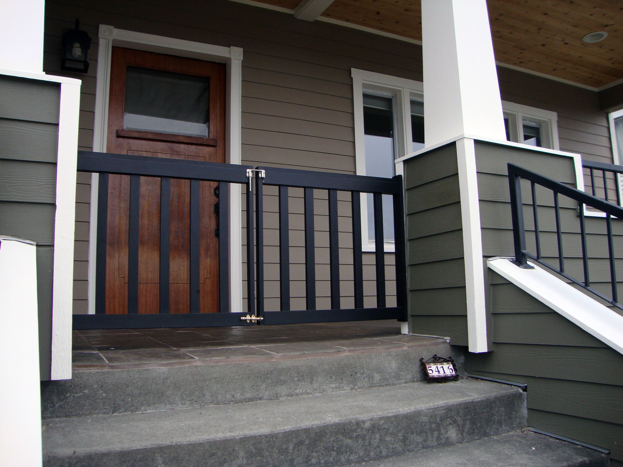 Front Porch With Baby Gate Porch Gate Porch Stairs Diy Front Porch