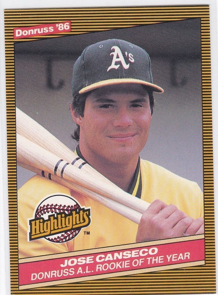 1986 Donruss Highlights Jose Canseco Al Rookie Of The Year Card No