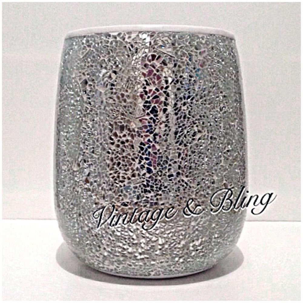 Silver crackle mirror glass bathroom sparkle glitter bin for Silver crackle glass bathroom accessories