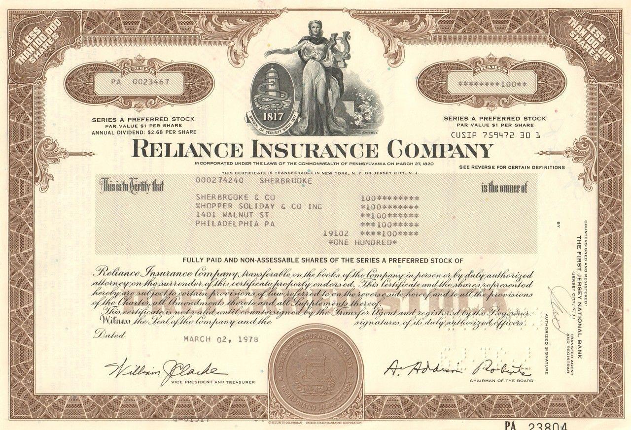 Reliance Insurance Company 1978 Reliance Insurance Insurance