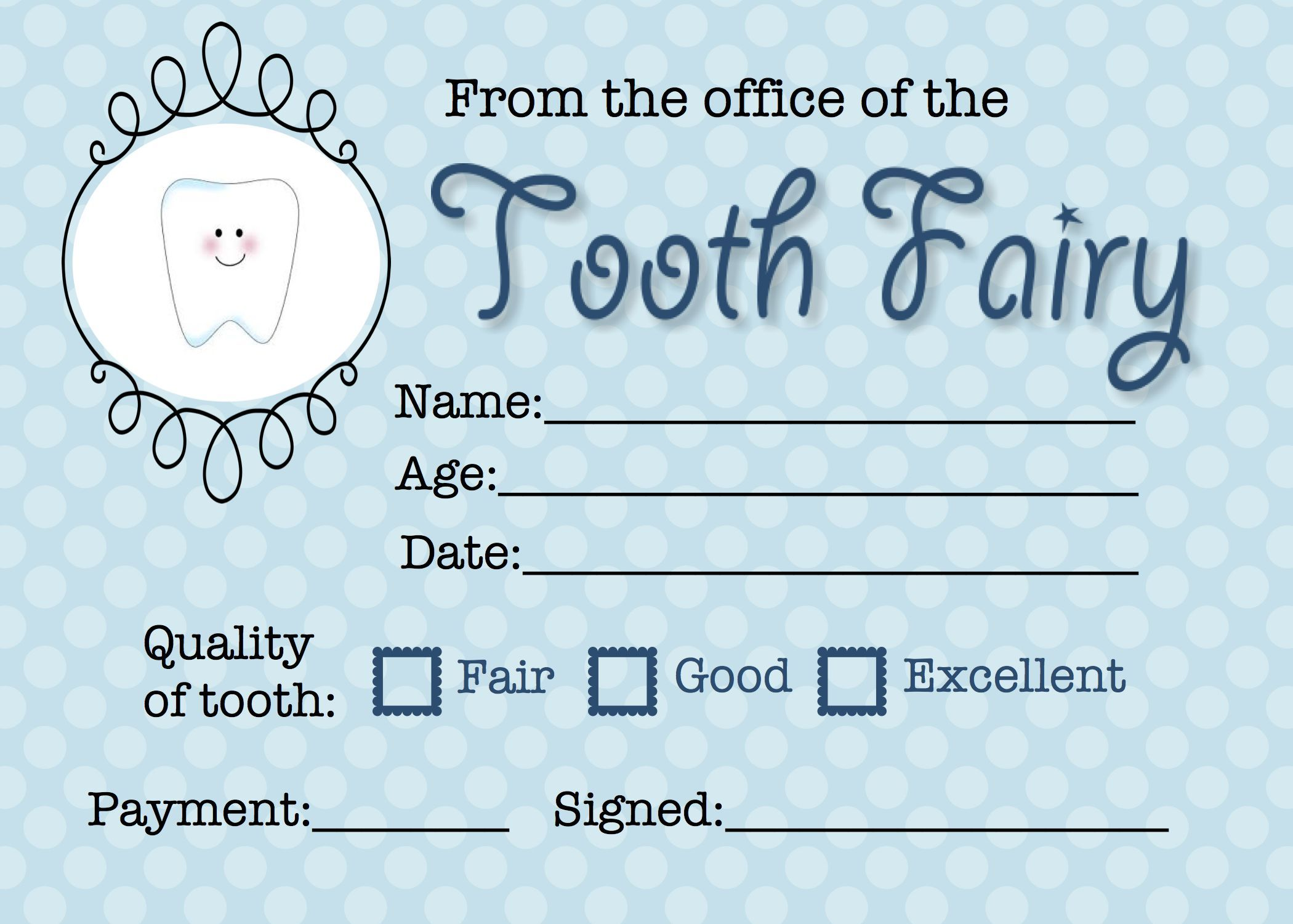 Tooth Fairy Receipt Tooth Fairy Receipt Tooth Fairy Certificate Tooth Fairy