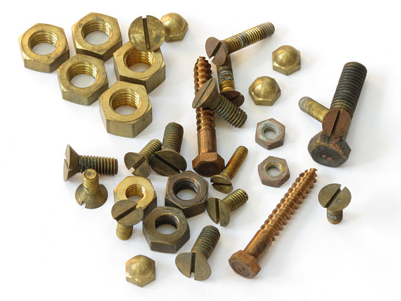 Old Brass Machine Screws and Bolts Vintage Large Machine